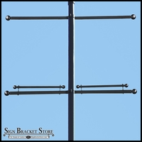 Single Trapeze Banner Bracket, Two-Way Bracket, Any Size/Shape Pole Mount for 24in.W Banner
