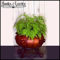 Small Antique Brown Iron Frame Plant Stand With Faux Copper Planter