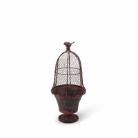 Small Bird Cage Planter - Red