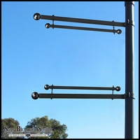 Trapeze Banner One-Way Bracket, Any Size/Shape Pole Mount for 24in.W Banner