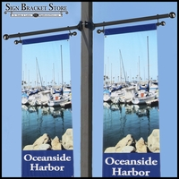 Trapeze Banner Two-Way Bracket, Any Size/Shape Pole Mount for 18in.W Banner