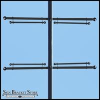 Trapeze Banner Two-Way Bracket, Any Size/Shape Pole Mount for 36in.W Banner