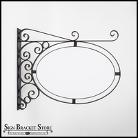 "Wall Mount Oval Sign Frame w/ Scroll 36"" x 24"" 