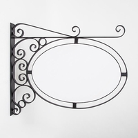 Wall Mount Oval Sign Frame w/ Scroll 46in. x 30in. | White Blank Included