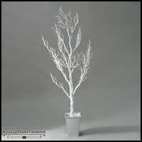 White Spiky Tree in Square Metal Planter, 6'