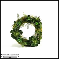 Wreath with Mixed Echeveria, Agave and Succulents, 21 in.