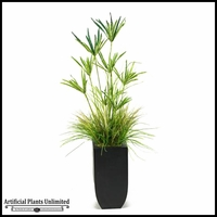 Yucca and Grass in Tall Metal Planter, 5.5'