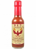 B&D'S Hot Florida Grown Original Bird Pepper Hot Sauce, 5oz.