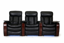 HTDesign Devonshire Home Theater Seating Wood Arm Top Grain Leather