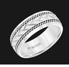 11-5942SHC8 8MM White Tungsten Carbide Ring with Woven Center, Sterling Silver Rope