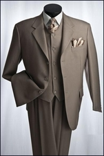 3 Piece 3 Button Men's Solid Color Suit (P1084)