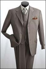 3 Piece Shadow Striped Polyester Men's Suit Outlet Prices (P1043)