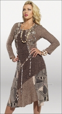 Adorable Womens Fashionable Dress by Love The Queen in Mocha 17103