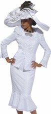 Always Pretty In Pure White First Lady Church Suit by Donna Vinci 5443