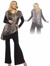 Animal Print Tunic and Pant Set with Sequins by Donna in Brown and Black 14160