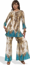 Animal Printed Tunic Set with a Splash of Turquoise by LTQ 17149