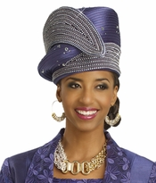 Beautiful Blue Iris Sparkling Hat by Donna Vinci H1446