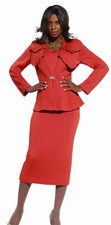 Beautiful Carnelian Color Ladies Knit Skirt Suit Set by Donna Vinci 2948