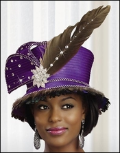 Beautiful First Lady Church Hat in Satin and Feathers H1347