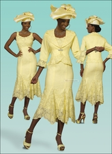 Beautiful Ladies Banana with Emboridery Dress and Jacket by Donna Vinci 11191