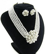 Beautiful Pearl and Sparkling Rhinestone Necklace and Earring Set