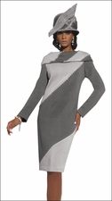 Womens Knitted Dress in Grey & Silver with Pearls & Rhinestones 2956