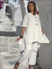 Breezy Summer Linen Set in Off-White from Donna by Donna Vinci 14119
