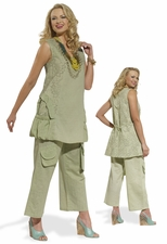 Breezy Summer Linen Set in Sage from Donna by Donna Vinci 14182