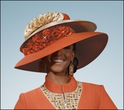Carnelian and Tan Church and Special Occasion Hat from Donna Vinci H2071