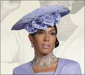 Church and Special Occasion Women's Satin Hat in Peri by Donna Vinci H2070