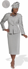 Women's Classy in Silver Church Suit by Donna Vinci Knits  2976
