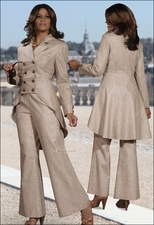 Classy Ladies Linen Blend Pant Suit in Taupe from Donna Vinci 11213