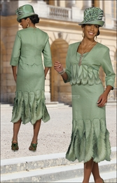 Classy Mother of The Bride Special Occasion Sage Suit by Donna Vinci 11193