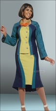 Color Blocked Fashion Suit from Donna Vinci in Seaport-Lime-Navy Color 11260