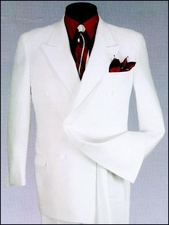 Conservative Double Breasted Suit with Peak Lapels (P1055)