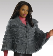 Couture Design Knit and Rabbit Fur Cape Jacket From Donna by Donna Vinci 14047