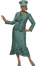 Designer Donna Vinci Elegant Church Suit in Wasabi Green 5437