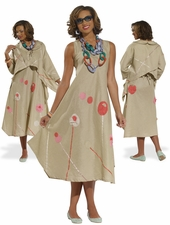 Designer Fashion Linen Dress in Tan  from Donna by Donna Vinci 14197