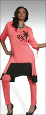 Designer Knit Tunic and Leggings in Coral and Black by Love The Queen 17069