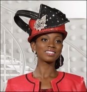 Designer Special Occasion Ladies Hat in Coral and Black H1401