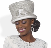 Designer Special Occasion Ladies Hat in White and Silver H1481