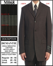 Desinger Men's 3 Button Pinstripe Suit (M068)