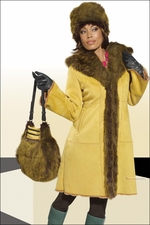 Donna by Donna Vinci Dijon Faux Fur Jacket with Matching Hat and Bag 14150