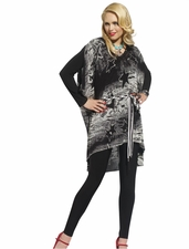 Donna by DV Black and White Tunic Legging Set for Holiday Gatherings 14158