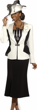 Women's Donna Vinci Empire Satin and Jeweled trim Suit  11268