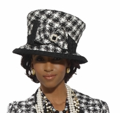 Donna Vinci Black and White Designer Hat in Novelty Fabric H5429
