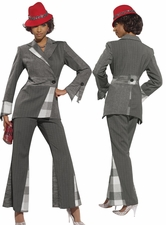 Donna Vinci Chic Designer Mix Media Fabrics Multigrey Pant Suit 5440