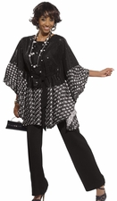 Donna Vinci Designer Tunic and Pant Set in Black 11234
