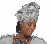 Donna Vinci Exclusive Elaborate Silver Church Hat H1480