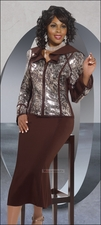 Donna Vinci Exclusive Novelty Sequins Fabric Church Suit in Brown 5446